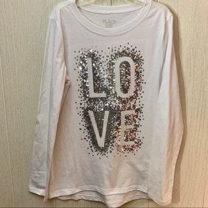 Children's Place LOVE in Sequins Long Sleeve Tee